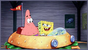 You don't need a license to drive a sandwich. SpongeBob and Patrick.