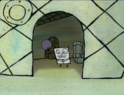 DoodleBob with a bowling ball
