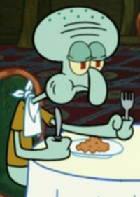 Squidward Wearing a Bib