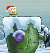 Spongebob Winter RUNerland Spongebob on green building