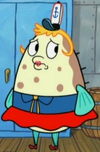Mrs. Puff Wearing the Krusty Krab Uniform