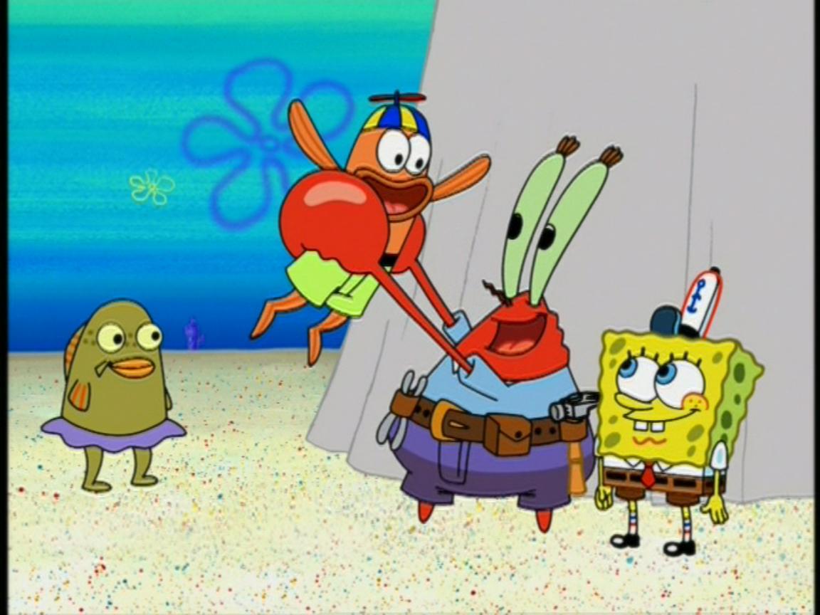 image mr krabs spongebob u0026 2 kid fish jpg encyclopedia