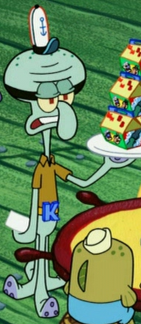 Squidward Wearing His Superhero Work Uniform