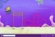 SpongeBob bumping into high bamboo bars in Skater Sponge