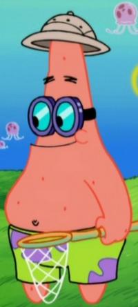 Patrick Wearing His Jellyfishing Uniform