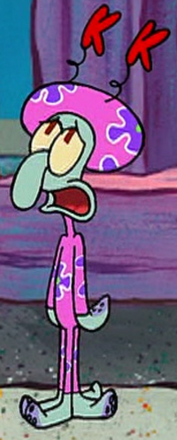 Squidward Wearing the Kuddly Krab Uniform