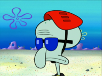 Squidward Wearing a Helmet and Sunglasses