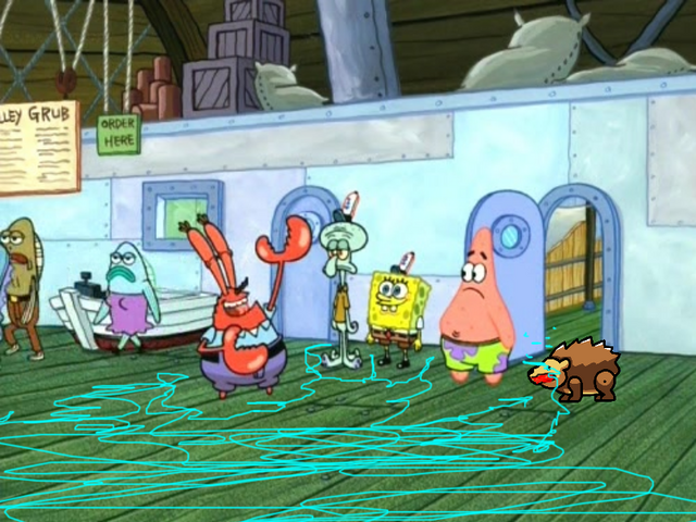 File:Porcupine Wails to SpongeBob, Patrick, Squidward and Mr. Krabs.png