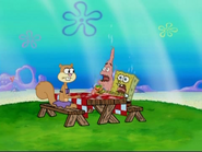 Sandy Sitting While Patrick and SpongeBob Needs Water