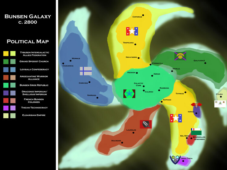 Bunsen Political Map 2800AD