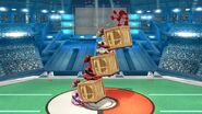 Three R.O.B.s holding Rolling Crates in Super Smash Bros Wii U