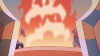 S1E15 Plume of fire outside Star's balcony