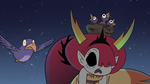 S3E1 Hekapoo's body with a nest of birds on it