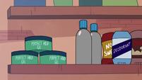 S2E27 Marco Diaz's bathroom shelf of cosmetics