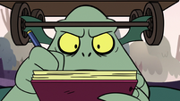 S2E20 Close-up on Buff Frog's note-taking face