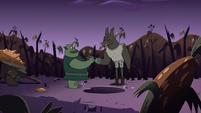 S2E20 Buff Frog and Meat Fork shaking hands