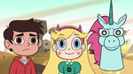 S2E13 Marco, Star, and Pony Head stare at fourth wall