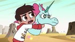 S2E13 Marco Diaz grabs hold on Pony Head
