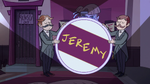 S2E37 Jeremy's butlers holding his breakaway banner