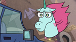 S2E24 Pony Head looking confused at Marco Diaz