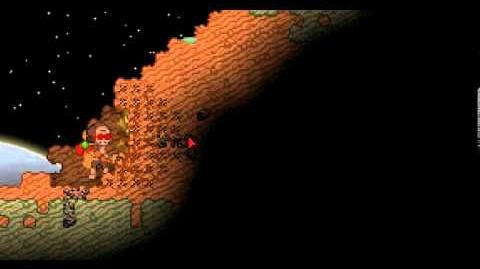 Starbound skeletal Duskchopper swinging mining