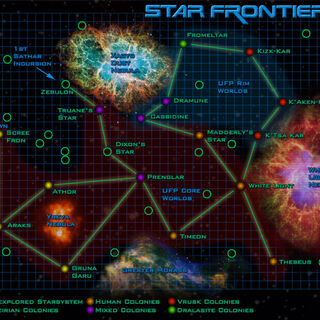 Fan-colored Original AD map. Note that it incorrectly identifies the Vrusk Core Worlds as