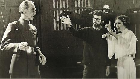 File:Peter Cushing George Lucas Carrie Fisher filming Star Wars.jpg