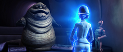 Padme talks to Jabba