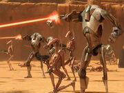 Battle droids on Geonosis