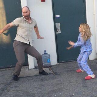Kaylee giving Hugo a dance lesson BTS season 1 of Stitchers