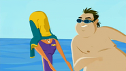S2 E2 The Guest looses his swimming suit