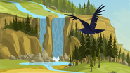 S1 E9 Bird flies towards the waterfall