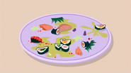 S1 E6 Floor Sashimi Supremi with flower petals