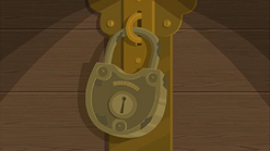 S1 E11 The lock that secures the Guests evaluation forms of the Staff