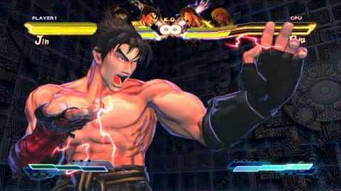 Jin performing his Super Art and Cross Art in Street Fighter X Tekken