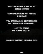 Super secret bonus section message