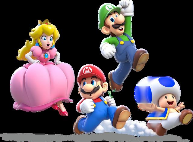 File:Main Crew Artwork (alt) - Super Mario 3D World.png