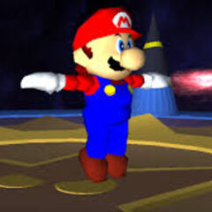 Mario about to fight SuperMarioGlitchy3.