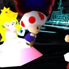 Mario meets with Peach and Toad