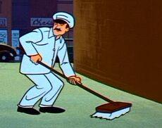 Street sweeping man