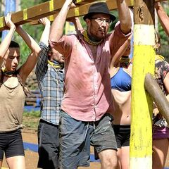 Andrew competing in Log Handler after the Tribe Switch.
