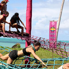 Asaga competes against Samatau in the <i>Upstacle</i> immunity challenge.
