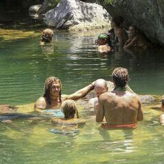 Members of Enil Edam in the water.