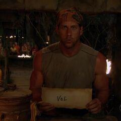 John votes against Val at the revote.