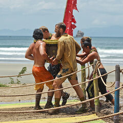 Shirin competing in the third Immunity Challenge with her tribe.