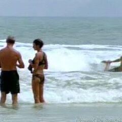 Robb steps on a stingray.