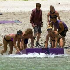 Brenda, Erik, and Andrea pushing the raft out to the main part of the challenge.