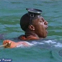 Osten nearly drowns.