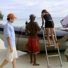 Kathy leaving the Airai camp.