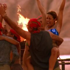 Kim celebrating Samburu's first immunity win.